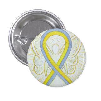 Gray and Yellow Ribbon Awareness Angel Pins