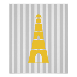 Gray and Yellow Striped Nautical Lighthouse Poster