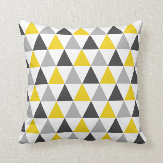 Gray and Yellow Triangle Pattern Throw Pillow