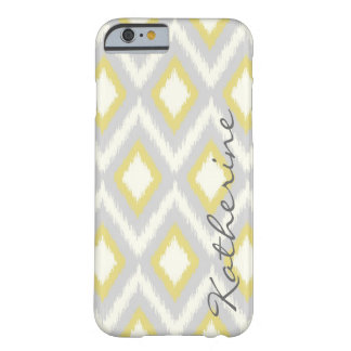 Gray and Yellow Tribal Ikat Chevron Monogram Barely There iPhone 6 Case