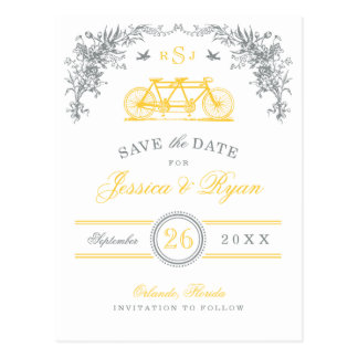 Gray and Yellow Vintage Bicycle Save the Date Postcard