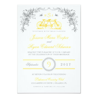 Gray and Yellow Vintage Bicycle Wedding Invitation