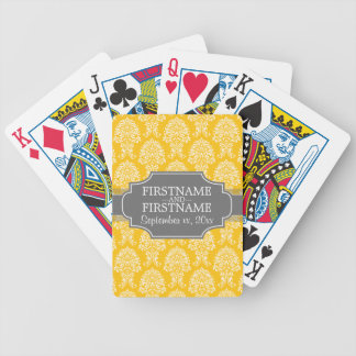 Gray and Yellow Vintage Damask Pattern Bicycle Playing Cards