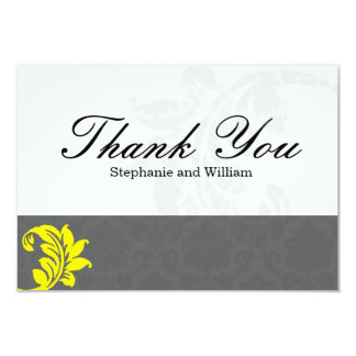 Gray and Yellow Wedding Thank You Card 9 Cm X 13 Cm Invitation Card