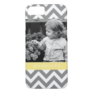 Gray and Yellow Zigzags Personalized Photo iPhone 8/7 Case