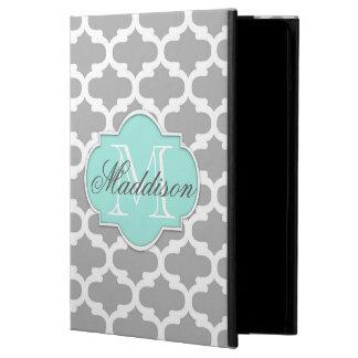 Gray Aqua Elegant Pattern Monogram Cover For iPad Air