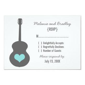 "Gray/Aqua Guitar Heart Response Card 3.5"" X 5"" Invitation Card"