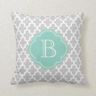 Gray Aqua Modern Moroccan Custom Monogram Throw Pillow