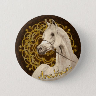 Gray Arabian horse round button