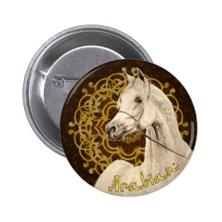 Gray Arabian horse round button