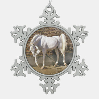 Gray Arabian Stallion Christmas Ornament