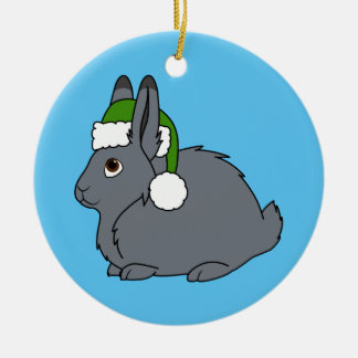 Gray Arctic Hare with Christmas Green Santa Hat Christmas Ornament