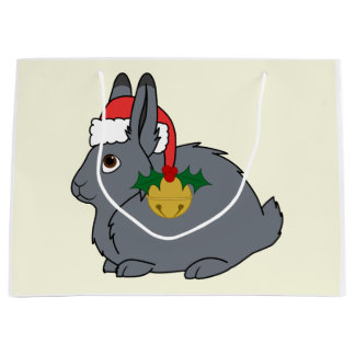 Gray Arctic Hare with Santa Hat & Gold Bell Large Gift Bag