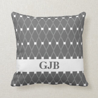Gray Argyle Lattice with monogram Cushion