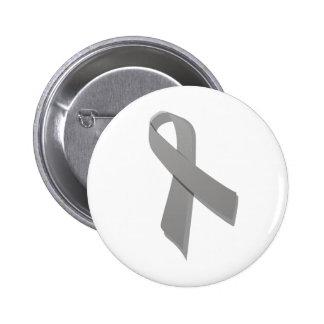 gray awareness ribbon 6 cm round badge