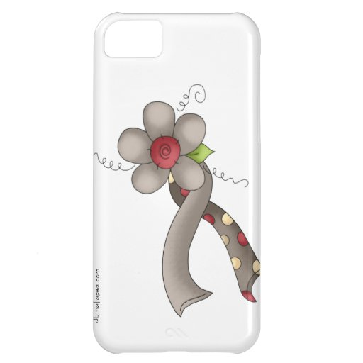 Gray Awareness Ribbon & Flower Cover For iPhone 5C