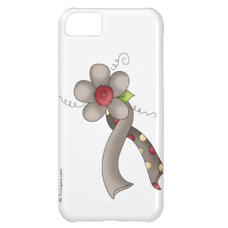 Gray Awareness Ribbon & Flower iPhone 5C Case