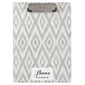 Gray Aztec Pastel Watercolor Ikat Soft Geometric Clipboard