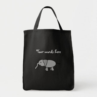 Gray baby elephant grocery tote bag