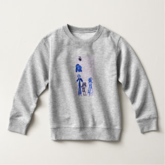 Gray Baby Fine Jersey T-Shirt with Family drawing.