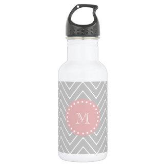 Gray & Baby Pink Modern Chevron Custom Monogram 532 Ml Water Bottle