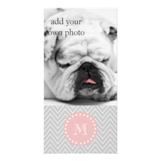 Gray Baby Pink Modern Chevron Custom Monogram Card