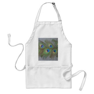 Gray Background Peacock Feathers Standard Apron