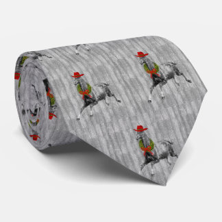 Gray Barn Wood Wild Horse in a Red Cowboy Hat Tie
