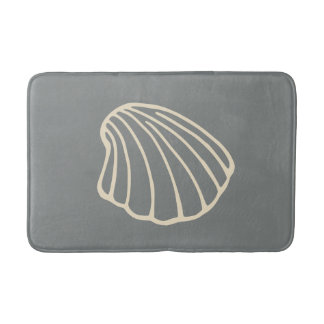 Gray Beach Seashell Sea Bathroom Rug Bath Mat