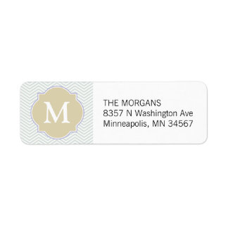 Gray & Beige Modern Chevron Custom Monogram Return Address Label