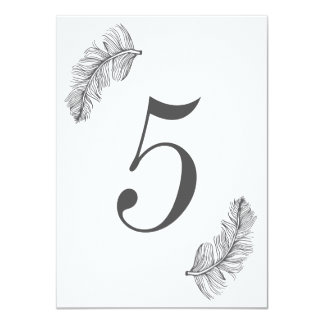 Gray Birds of a Feather Table Number 11 Cm X 16 Cm Invitation Card