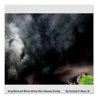Gray Black and Brown Storm Over Glowing Treetop... Poster
