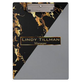 Gray, Black and Gold Marble Design Clipboard