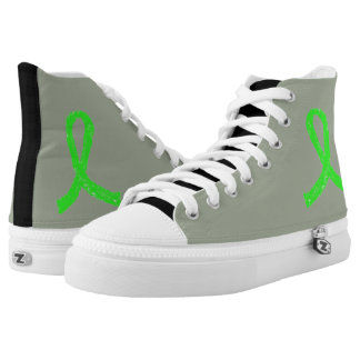 Gray, black and lime green Lyme Awareness Shoes Printed Shoes