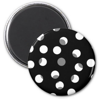 Gray, black and white dot pattern. 6 cm round magnet