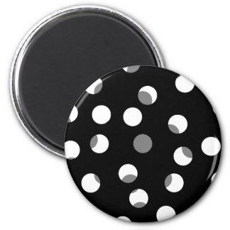 Gray, black and white dot pattern. 6 cm round magnet