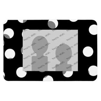 Gray, black and white dot pattern. Custom Rectangular Photo Magnet