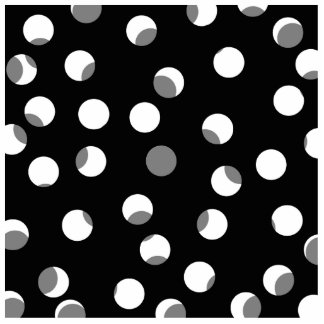 Gray, black and white dot pattern. photo sculpture badge