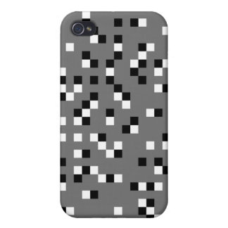 Gray, Black and White Square Dots Pern. Case For iPhone 4