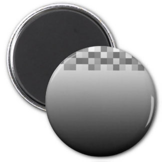 Gray, Black and White Squares Pattern. 6 Cm Round Magnet