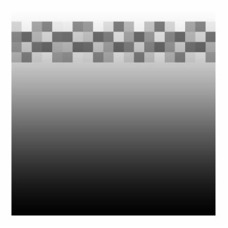 Gray, Black and White Squares Pattern. Standing Photo Sculpture