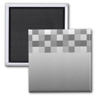 Gray, Black and White Squares Pattern. Square Magnet