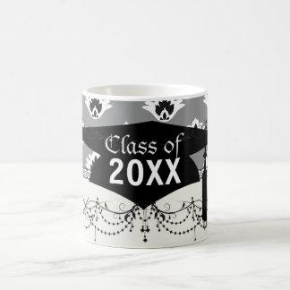 gray black and white tiny damask graduation coffee mug