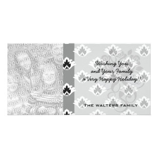 gray black and white tiny damask pattern custom photo card