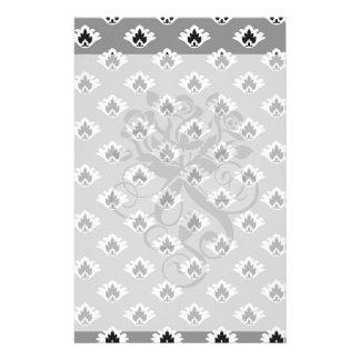 gray black and white tiny damask pattern customized stationery