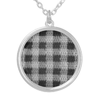 Gray Black Business Plaid Crochet Print Round Silver Plated Necklace