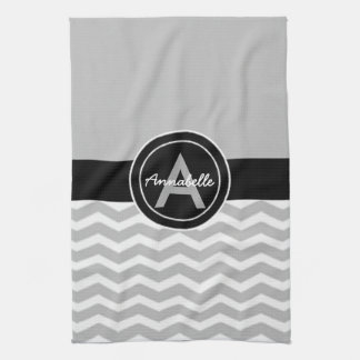 Gray Black Chevron Tea Towel