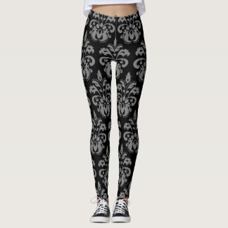 Gray black damask pattern beautiful leggings