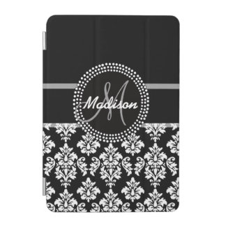 Gray Black Damask with Monogram iPad Mini Cover
