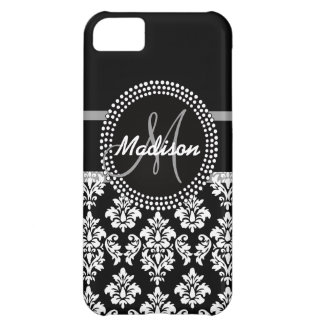 Gray Black Damask with Monogram iPhone 5C Case